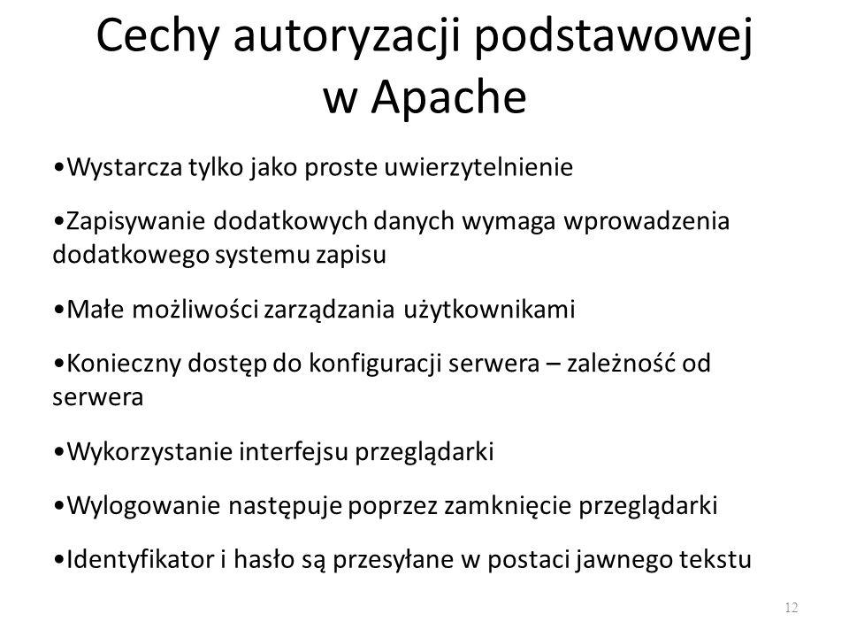 Cechy autoryzacji podstawowej w Apache Wystarcza tylko jako proste uwierzytelnienie Konieczny dostęp do konfiguracji serwera – zależność od serwera Ma