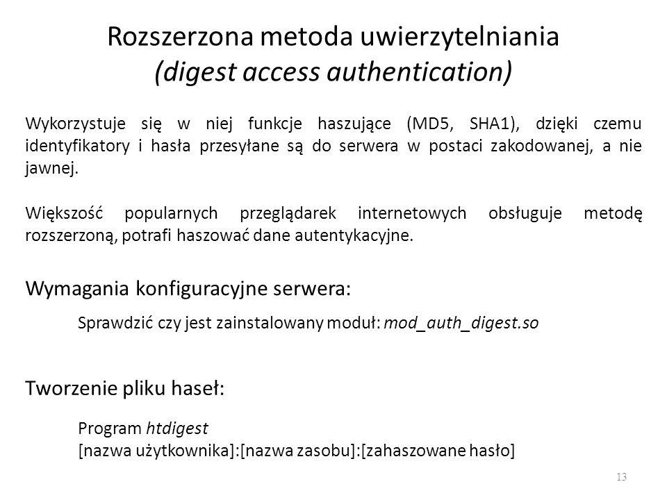 Rozszerzona metoda uwierzytelniania (digest access authentication) Wykorzystuje się w niej funkcje haszujące (MD5, SHA1), dzięki czemu identyfikatory