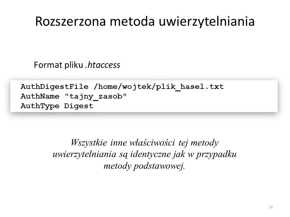 Rozszerzona metoda uwierzytelniania Format pliku.htaccess AuthDigestFile /home/wojtek/plik_hasel.txt AuthName