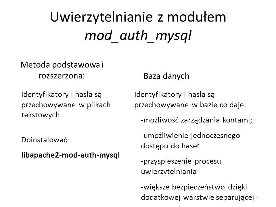 Uwierzytelnianie z modułem mod_auth_mysql Identyfikatory i hasła są przechowywane w plikach tekstowych Identyfikatory i hasła są przechowywane w bazie