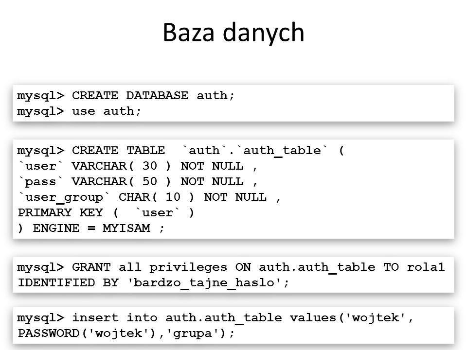 Baza danych 17 mysql> CREATE DATABASE auth; mysql> use auth; mysql> CREATE DATABASE auth; mysql> use auth; mysql> CREATE TABLE `auth`.`auth_table` ( `