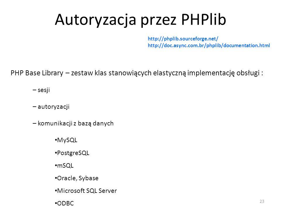 Autoryzacja przez PHPlib – sesji PHP Base Library – zestaw klas stanowiących elastyczną implementację obsługi : 23 http://phplib.sourceforge.net/ http