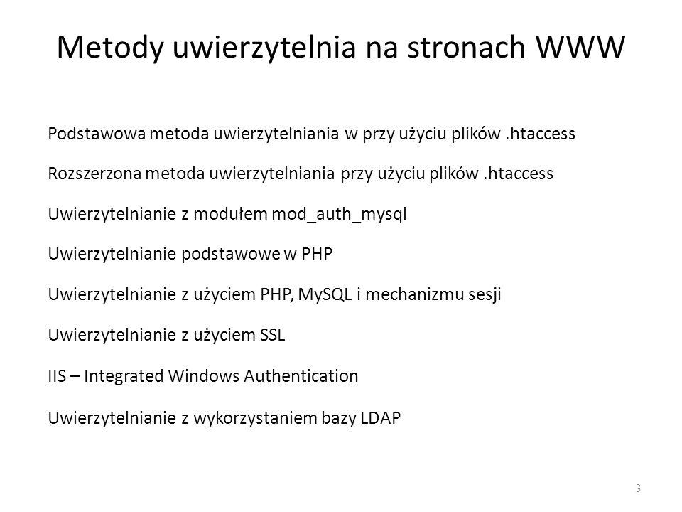 Uwierzytelnianie przez.htaccess Wymagania konfiguracji serwera APACHE: LoadModule auth_module/mod_auth.so AllowOverride All AccessFileName.htaccess LoadModule auth_module/mod_auth.so AllowOverride All AccessFileName.htaccess Serwer Apache ma wbudowane funkcje kontroli dostępu.
