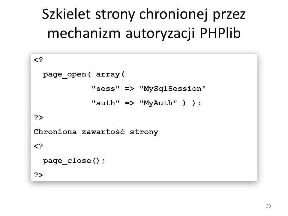 Szkielet strony chronionej przez mechanizm autoryzacji PHPlib <? page_open( array(