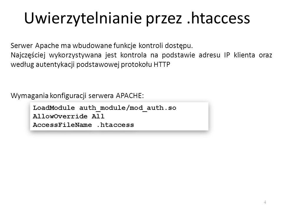 Uwierzytelnianie przez.htaccess Uwierzytelnianie można wprowadzić poprzez: dokonanie zmian w plikach konfiguracyjnych Apache dokonanie zmian w pliku htaccess lub httpd (pliki te będą znajdowały się w chronionym katalogu) Korzystanie z pliku.htaccess jest mniej efektywne od wykorzystania standardowych plików konfiguracyjnych, ponieważ jest on odczytywany za każdym żądaniem pliku z katalogu zawierającego plik.htaccess.