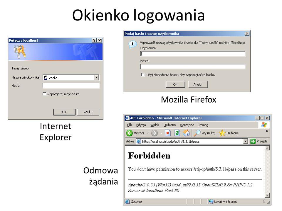 Okienko logowania Internet Explorer Mozilla Firefox Odmowa żądania 6