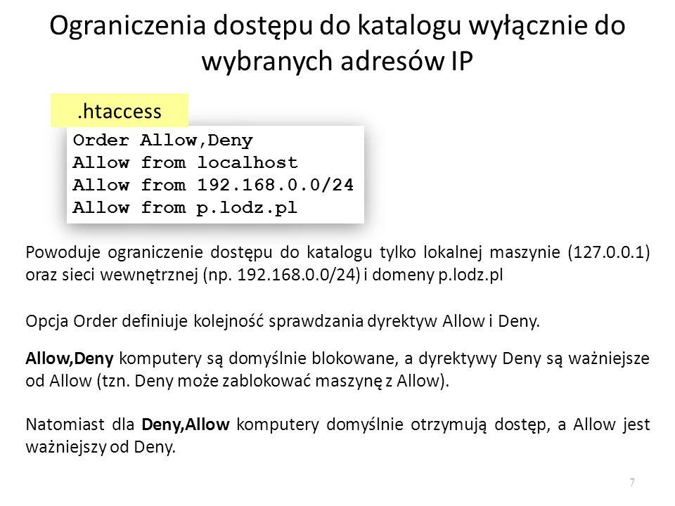 Ograniczenia dostępu do katalogu wyłącznie do wybranych adresów IP Opcja Order definiuje kolejność sprawdzania dyrektyw Allow i Deny. Powoduje ogranic