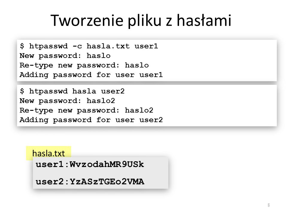 Plik.htaccess AuthName Tajny zasób AuthType Basic AuthUserFile /home/student1/hasla.txt Require user user1 AuthName Tajny zasób AuthType Basic AuthUserFile /home/student1/hasla.txt Require user user1 AuthName Tajny zasób AuthType Basic AuthUserFile /home/student1/hasla.txt Require valid-user AuthName Tajny zasób AuthType Basic AuthUserFile /home/student1/hasla.txt Require valid-user Dyrektywa AuthName określa tekst monitu 9 Dyrektywa Require określa użytkowników, którzy będą mieli dostęp do podanej witryny Dyrektywa AuthUserFile zawiera ścieżkę do pliku z hasłami użytkowników