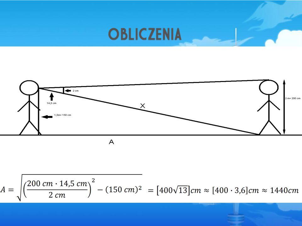 Zgodnie z twierdzeniem Talesa wyznaczyliśmy wielkość X, która posłużyła potem do wyliczenia wielkości A.