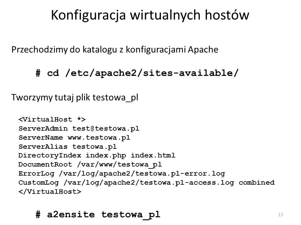 Konfiguracja wirtualnych hostów 13 Przechodzimy do katalogu z konfiguracjami Apache # cd /etc/apache2/sites-available/ Tworzymy tutaj plik testowa_pl