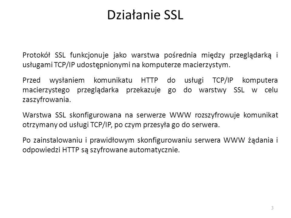 Etapy działania protokołu Przeglądarka nawiązuje połączenie z serwerem wykorzystującym SSL i żąda od niego uwierzytelnienia się.
