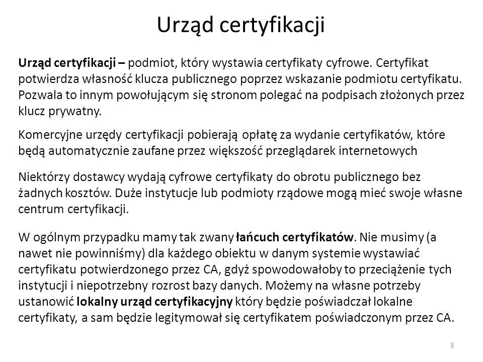 Urząd certyfikacji 8 Urząd certyfikacji – podmiot, który wystawia certyfikaty cyfrowe. Certyfikat potwierdza własność klucza publicznego poprzez wskaz