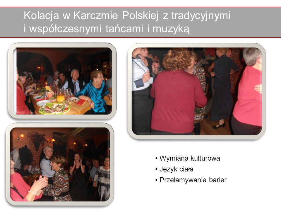 Kolacja w Karczmie Polskiej z tradycyjnymi i współczesnymi tańcami i muzyką Wymiana kulturowa Język ciała Przełamywanie barier