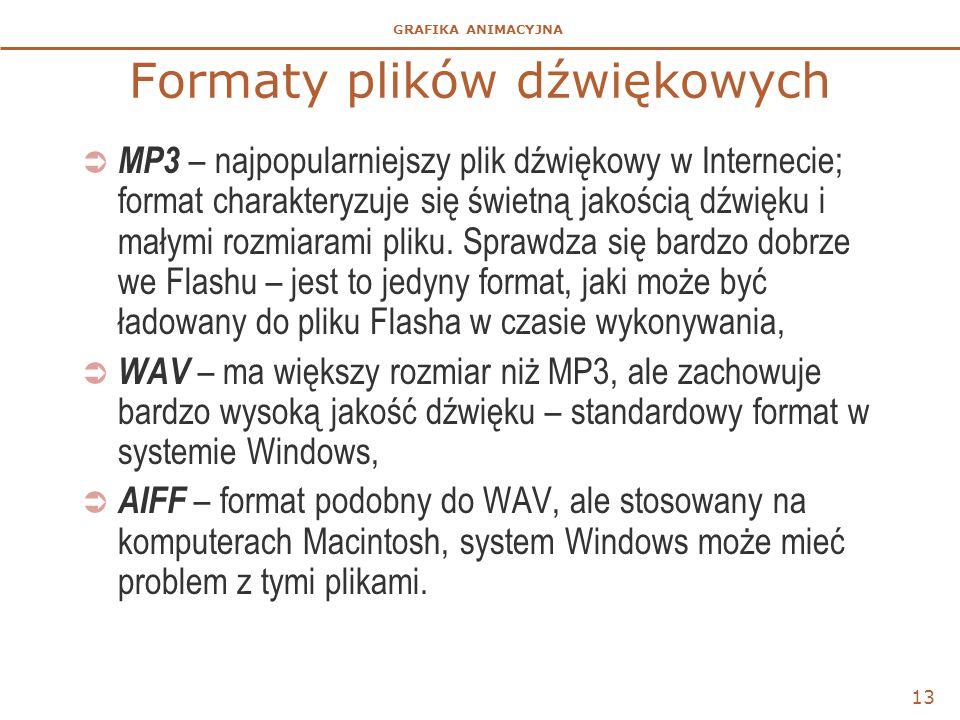 GRAFIKA ANIMACYJNA Formaty plików dźwiękowych  MP3 – najpopularniejszy plik dźwiękowy w Internecie; format charakteryzuje się świetną jakością dźwięku i małymi rozmiarami pliku.