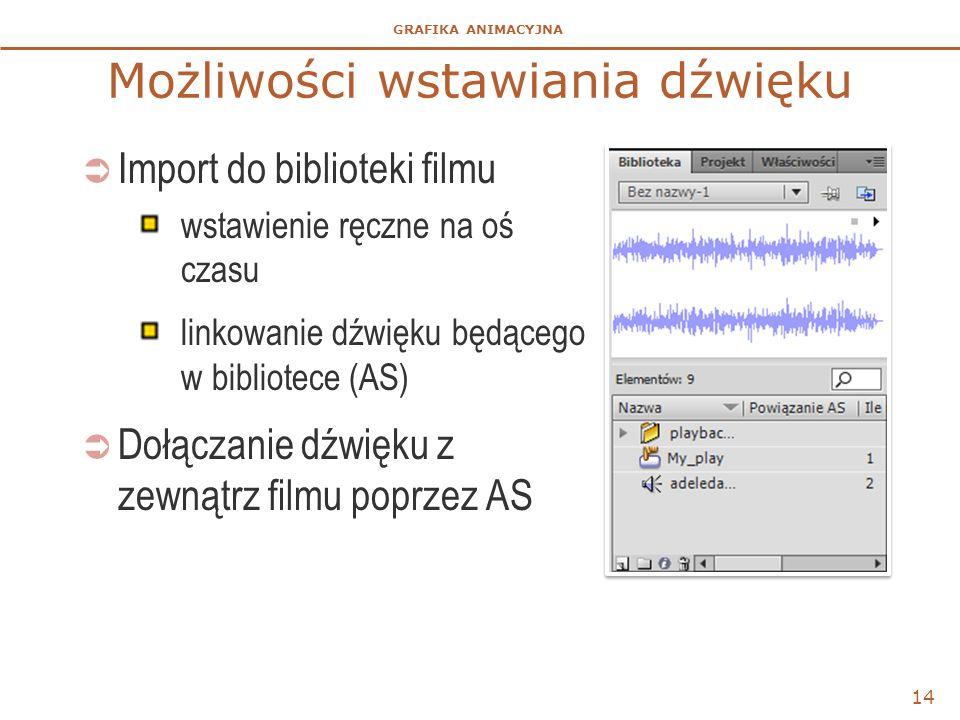 GRAFIKA ANIMACYJNA Możliwości wstawiania dźwięku  Import do biblioteki filmu wstawienie ręczne na oś czasu linkowanie dźwięku będącego w bibliotece (AS)  Dołączanie dźwięku z zewnątrz filmu poprzez AS 14