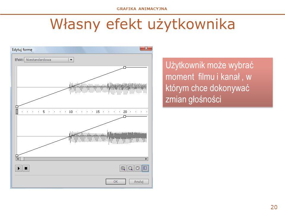 GRAFIKA ANIMACYJNA Własny efekt użytkownika 20 Użytkownik może wybrać moment filmu i kanał, w którym chce dokonywać zmian głośności