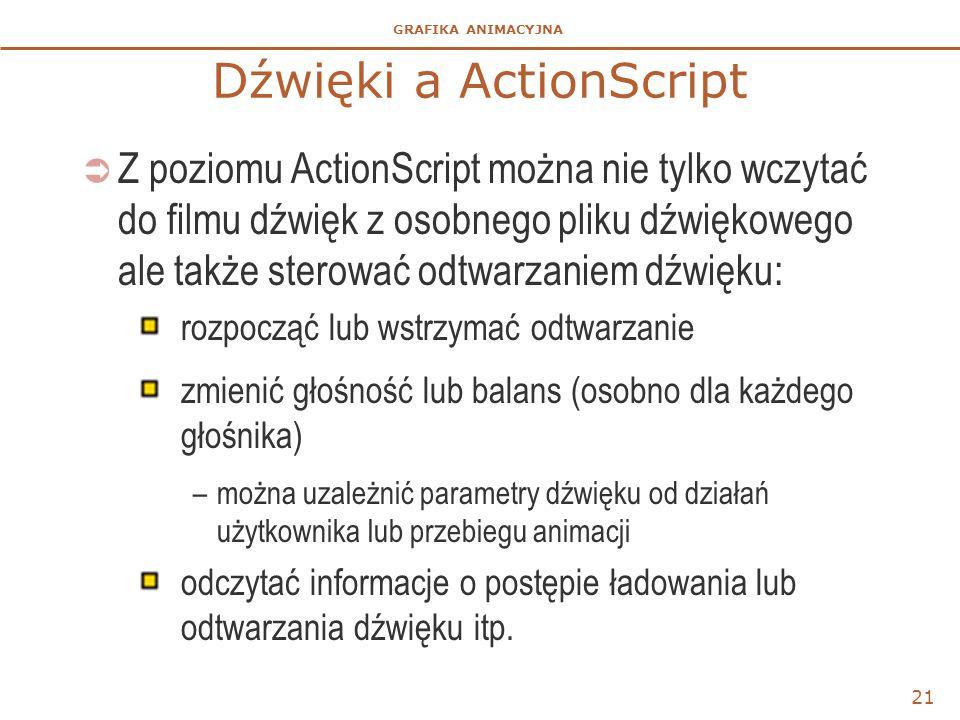 GRAFIKA ANIMACYJNA Dźwięki a ActionScript  Z poziomu ActionScript można nie tylko wczytać do filmu dźwięk z osobnego pliku dźwiękowego ale także sterować odtwarzaniem dźwięku: rozpocząć lub wstrzymać odtwarzanie zmienić głośność lub balans (osobno dla każdego głośnika) –można uzależnić parametry dźwięku od działań użytkownika lub przebiegu animacji odczytać informacje o postępie ładowania lub odtwarzania dźwięku itp.
