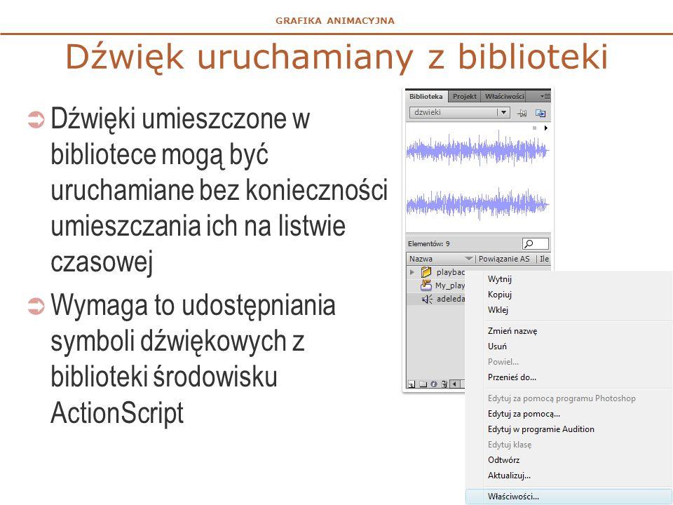 GRAFIKA ANIMACYJNA Dźwięk uruchamiany z biblioteki  Dźwięki umieszczone w bibliotece mogą być uruchamiane bez konieczności umieszczania ich na listwie czasowej  Wymaga to udostępniania symboli dźwiękowych z biblioteki środowisku ActionScript 22