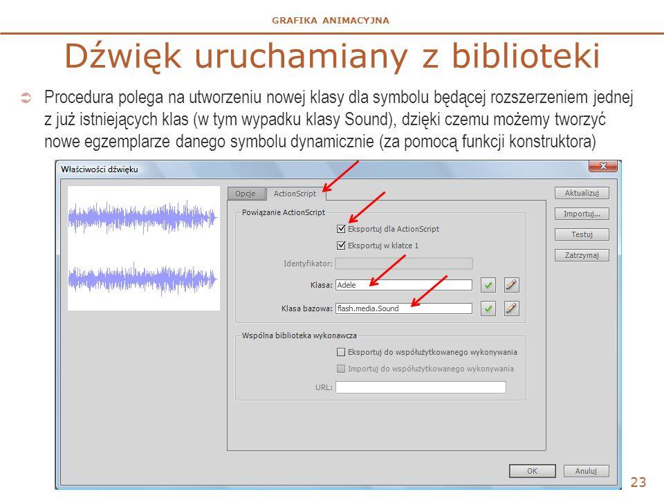GRAFIKA ANIMACYJNA Dźwięk uruchamiany z biblioteki  Procedura polega na utworzeniu nowej klasy dla symbolu będącej rozszerzeniem jednej z już istniejących klas (w tym wypadku klasy Sound), dzięki czemu możemy tworzyć nowe egzemplarze danego symbolu dynamicznie (za pomocą funkcji konstruktora) 23
