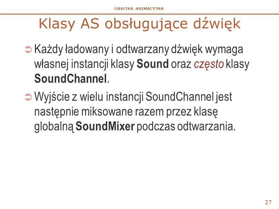 GRAFIKA ANIMACYJNA Klasy AS obsługujące dźwięk  Każdy ładowany i odtwarzany dźwięk wymaga własnej instancji klasy Sound oraz często klasy SoundChannel.