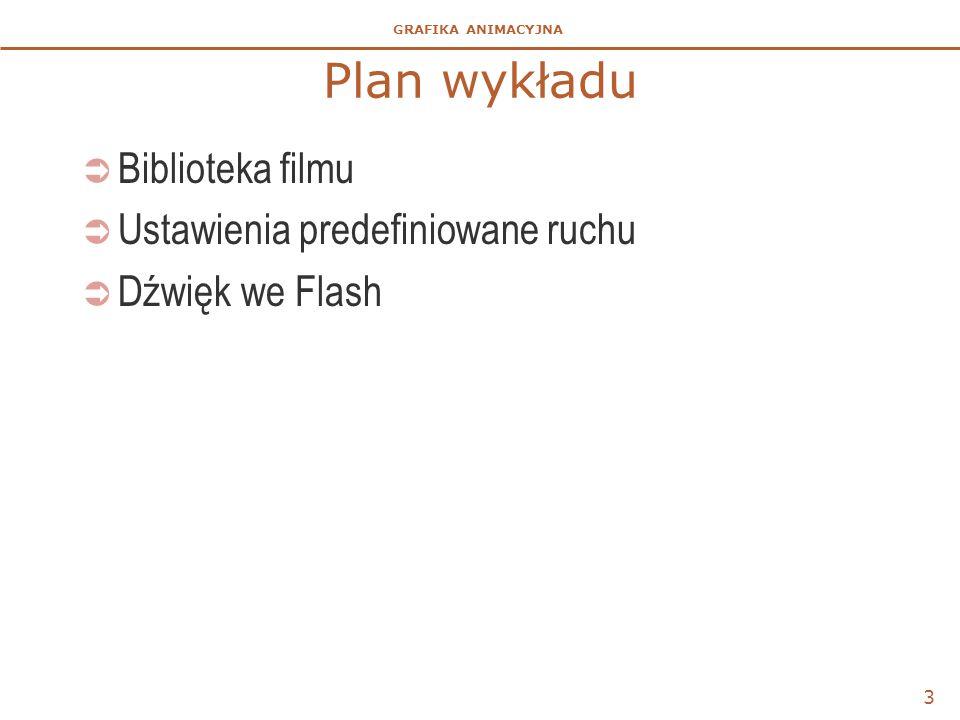 GRAFIKA ANIMACYJNA Plan wykładu  Biblioteka filmu  Ustawienia predefiniowane ruchu  Dźwięk we Flash 3