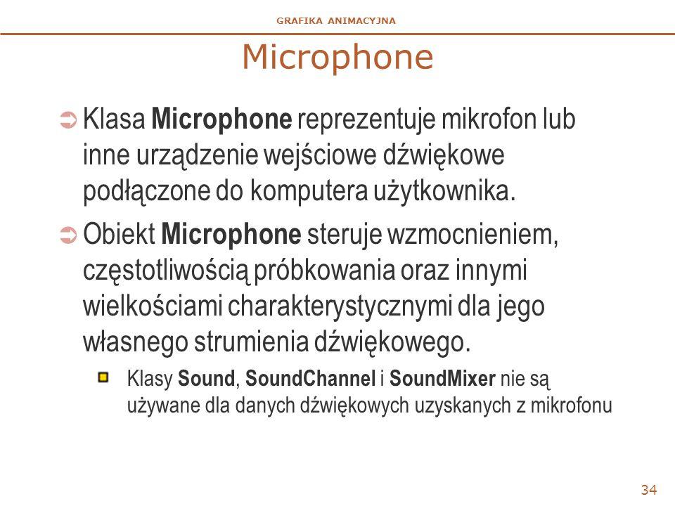 GRAFIKA ANIMACYJNA Microphone  Klasa Microphone reprezentuje mikrofon lub inne urządzenie wejściowe dźwiękowe podłączone do komputera użytkownika.