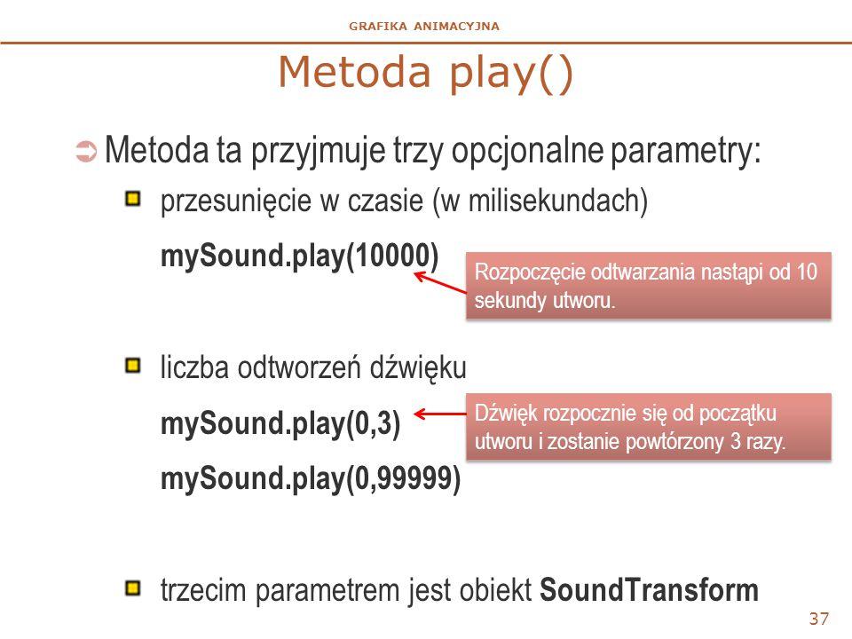 GRAFIKA ANIMACYJNA Metoda play()  Metoda ta przyjmuje trzy opcjonalne parametry: przesunięcie w czasie (w milisekundach) mySound.play(10000) liczba odtworzeń dźwięku mySound.play(0,3) mySound.play(0,99999) trzecim parametrem jest obiekt SoundTransform 37 Rozpoczęcie odtwarzania nastąpi od 10 sekundy utworu.