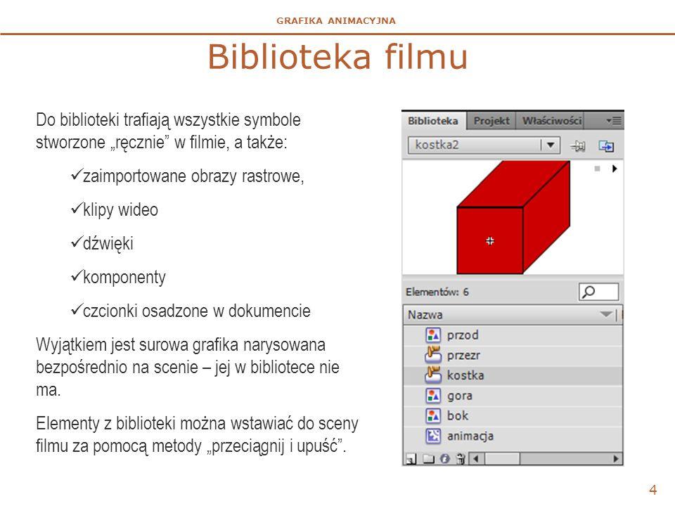 GRAFIKA ANIMACYJNA Dźwięk na osi czasu  Dźwięki można importować do biblioteki i wstawiać bezpośrednio na listwę czasową sceny, klipu lub przycisku.