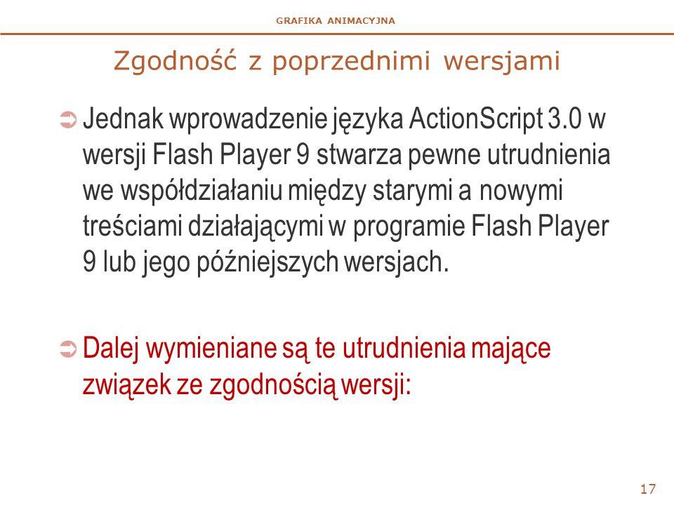 GRAFIKA ANIMACYJNA Zgodność z poprzednimi wersjami  Jednak wprowadzenie języka ActionScript 3.0 w wersji Flash Player 9 stwarza pewne utrudnienia we współdziałaniu między starymi a nowymi treściami działającymi w programie Flash Player 9 lub jego późniejszych wersjach.
