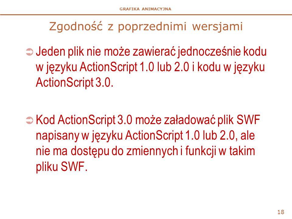 GRAFIKA ANIMACYJNA Zgodność z poprzednimi wersjami  Jeden plik nie może zawierać jednocześnie kodu w języku ActionScript 1.0 lub 2.0 i kodu w języku ActionScript 3.0.