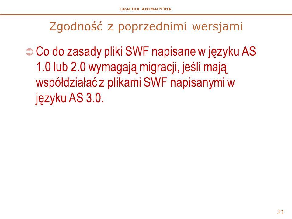 GRAFIKA ANIMACYJNA Zgodność z poprzednimi wersjami  Co do zasady pliki SWF napisane w języku AS 1.0 lub 2.0 wymagają migracji, jeśli mają współdziałać z plikami SWF napisanymi w języku AS 3.0.