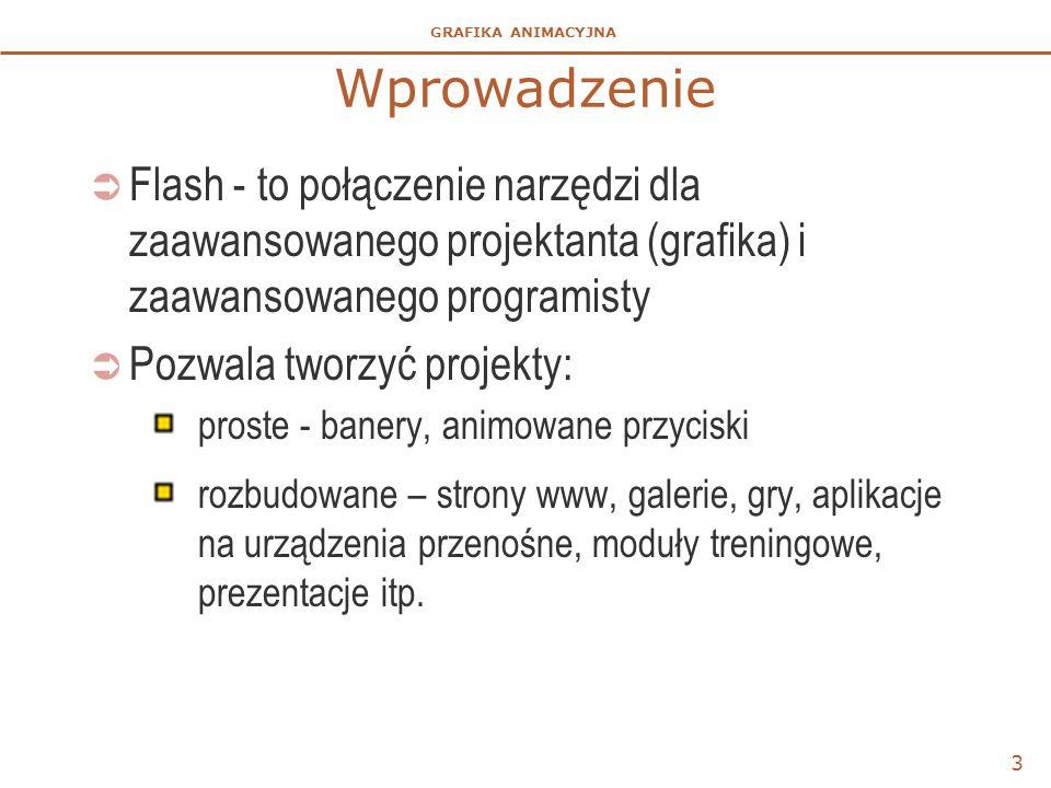 GRAFIKA ANIMACYJNA 3 Wprowadzenie  Flash - to połączenie narzędzi dla zaawansowanego projektanta (grafika) i zaawansowanego programisty  Pozwala tworzyć projekty: proste - banery, animowane przyciski rozbudowane – strony www, galerie, gry, aplikacje na urządzenia przenośne, moduły treningowe, prezentacje itp.