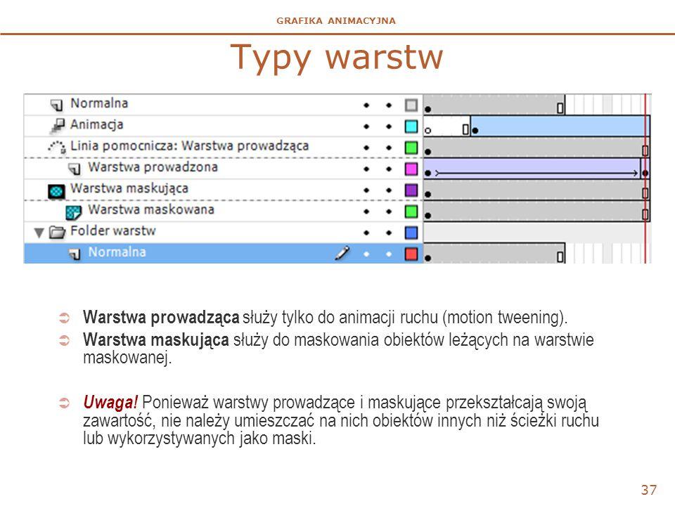 GRAFIKA ANIMACYJNA Typy warstw 37  Warstwa prowadząca służy tylko do animacji ruchu (motion tweening).