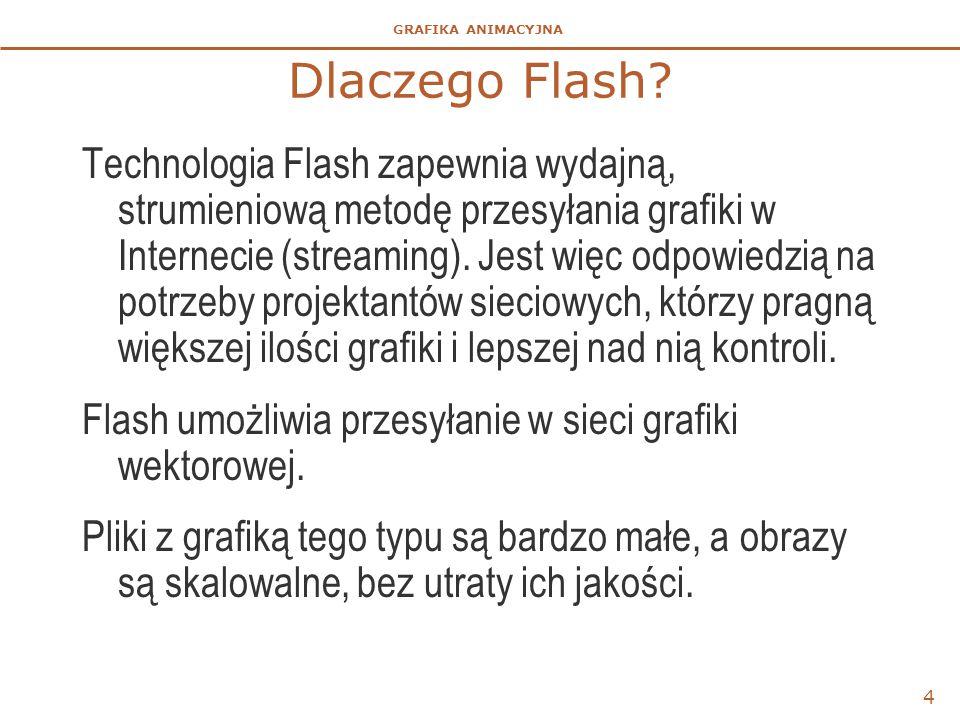 GRAFIKA ANIMACYJNA 5 Integralność Flasha  Środowisko Flasha jest zintegrowane z innymi produktami Adobe – Dreamweaver, Fireworks – oraz z produktami innych dostawców.