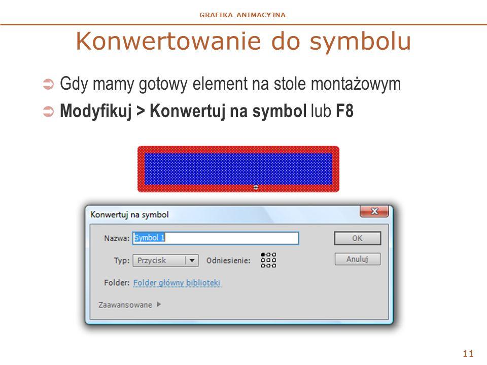 GRAFIKA ANIMACYJNA Konwertowanie do symbolu  Gdy mamy gotowy element na stole montażowym  Modyfikuj > Konwertuj na symbol lub F8 11