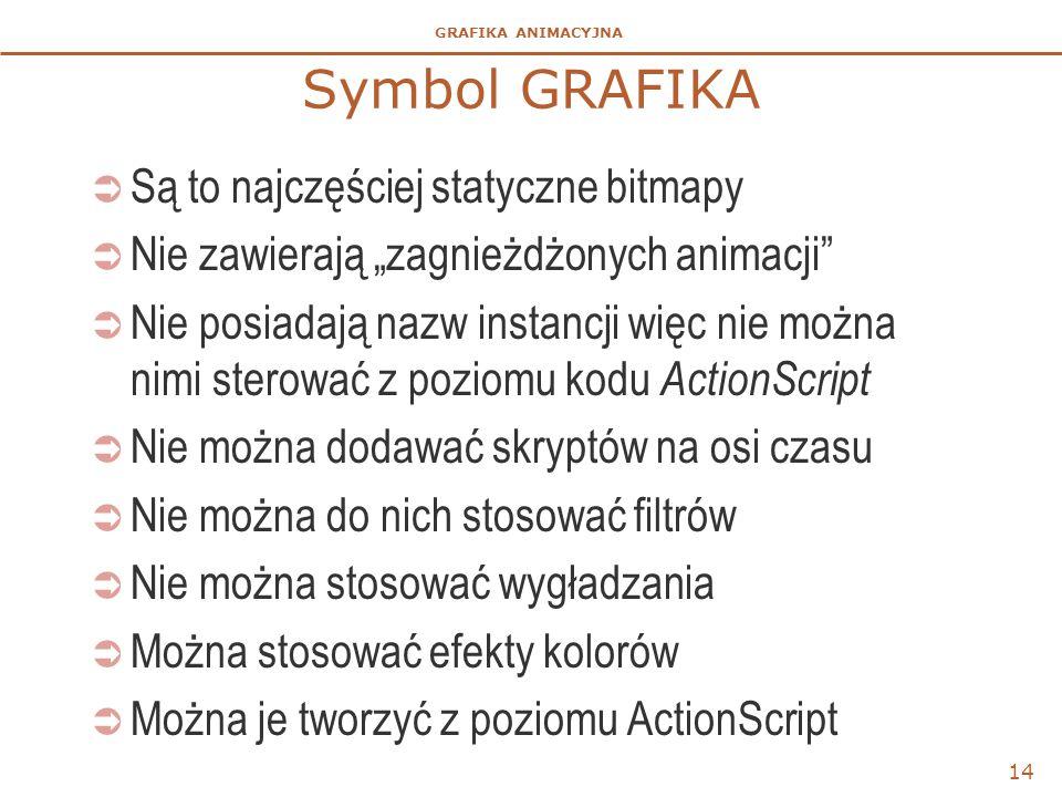"""GRAFIKA ANIMACYJNA Symbol GRAFIKA  Są to najczęściej statyczne bitmapy  Nie zawierają """"zagnieżdżonych animacji""""  Nie posiadają nazw instancji więc"""