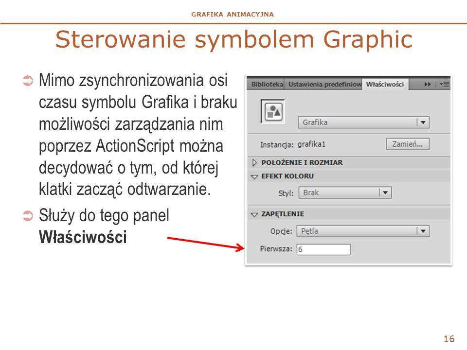 GRAFIKA ANIMACYJNA Sterowanie symbolem Graphic  Mimo zsynchronizowania osi czasu symbolu Grafika i braku możliwości zarządzania nim poprzez ActionScr