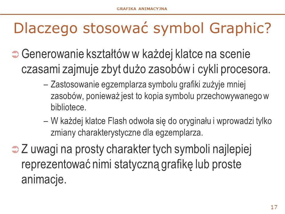 GRAFIKA ANIMACYJNA 17 Dlaczego stosować symbol Graphic?  Generowanie kształtów w każdej klatce na scenie czasami zajmuje zbyt dużo zasobów i cykli pr