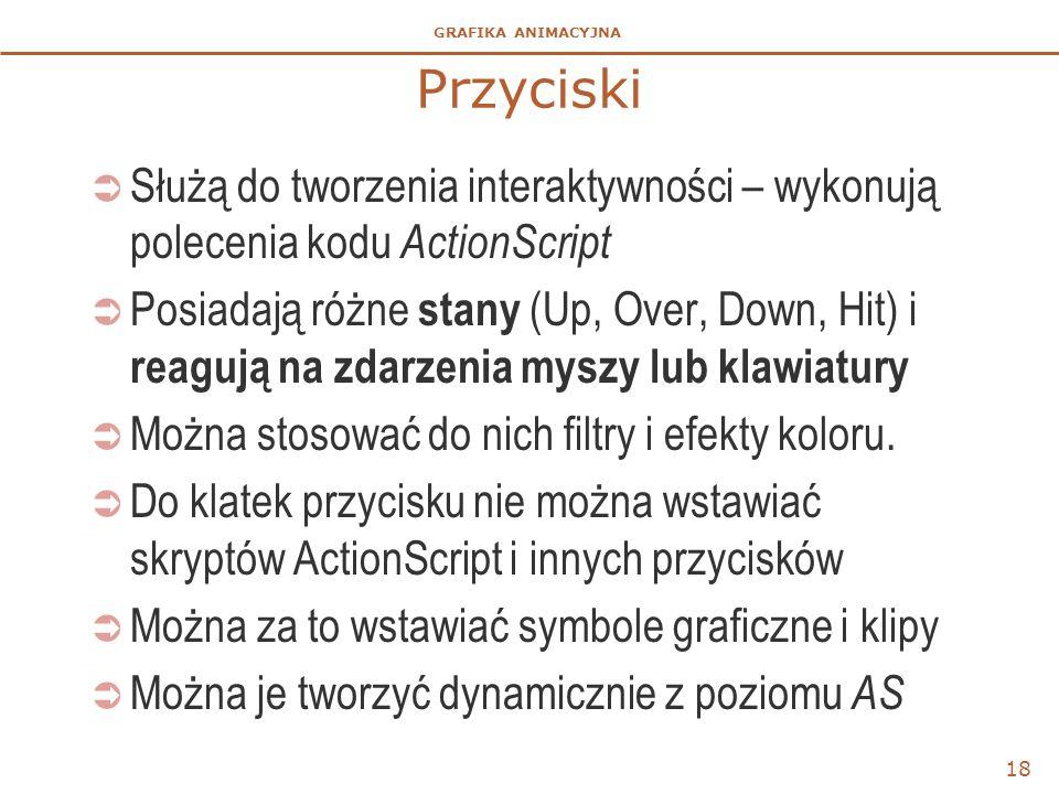GRAFIKA ANIMACYJNA 18 Przyciski  Służą do tworzenia interaktywności – wykonują polecenia kodu ActionScript  Posiadają różne stany (Up, Over, Down, H