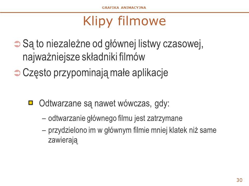 GRAFIKA ANIMACYJNA Klipy filmowe  Są to niezależne od głównej listwy czasowej, najważniejsze składniki filmów  Często przypominają małe aplikacje Od