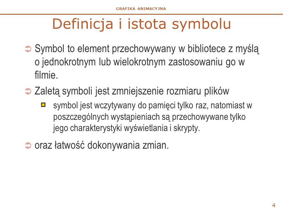 GRAFIKA ANIMACYJNA 4 Definicja i istota symbolu  Symbol to element przechowywany w bibliotece z myślą o jednokrotnym lub wielokrotnym zastosowaniu go
