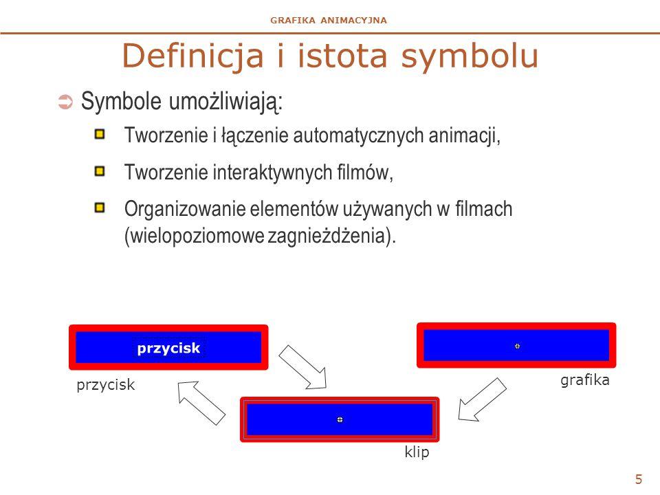 GRAFIKA ANIMACYJNA  Symbole umożliwiają: Tworzenie i łączenie automatycznych animacji, Tworzenie interaktywnych filmów, Organizowanie elementów używa