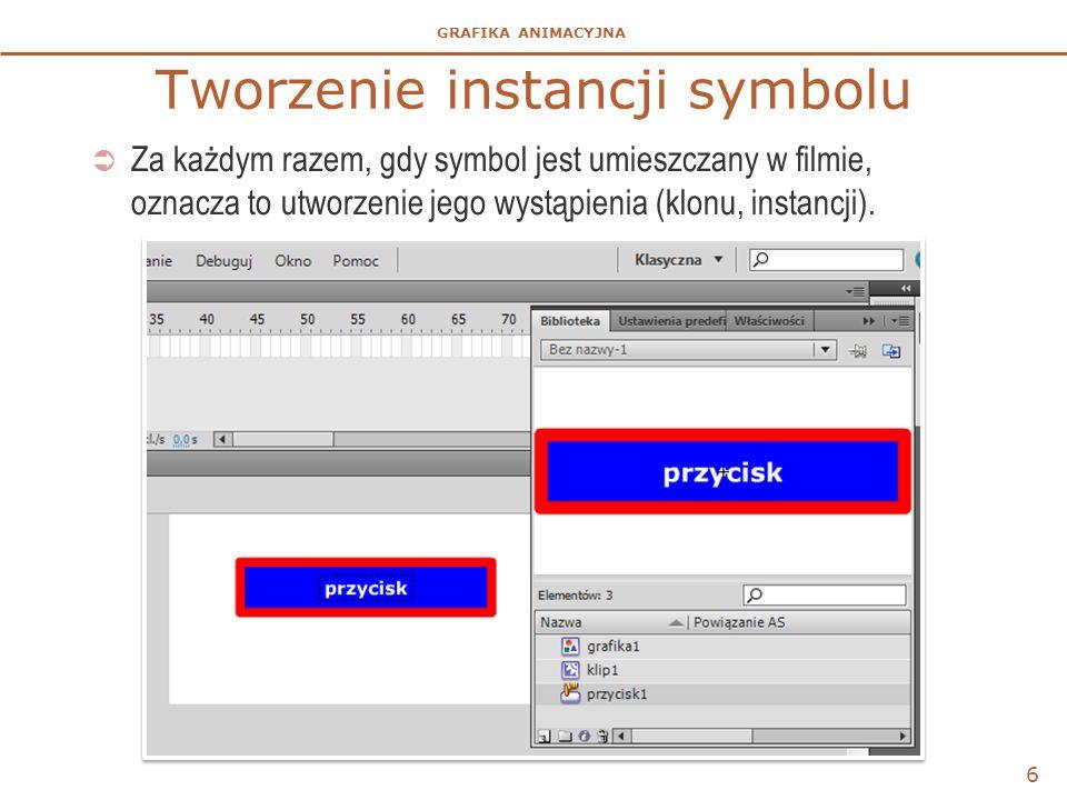 GRAFIKA ANIMACYJNA Tworzenie instancji symbolu  Za każdym razem, gdy symbol jest umieszczany w filmie, oznacza to utworzenie jego wystąpienia (klonu,