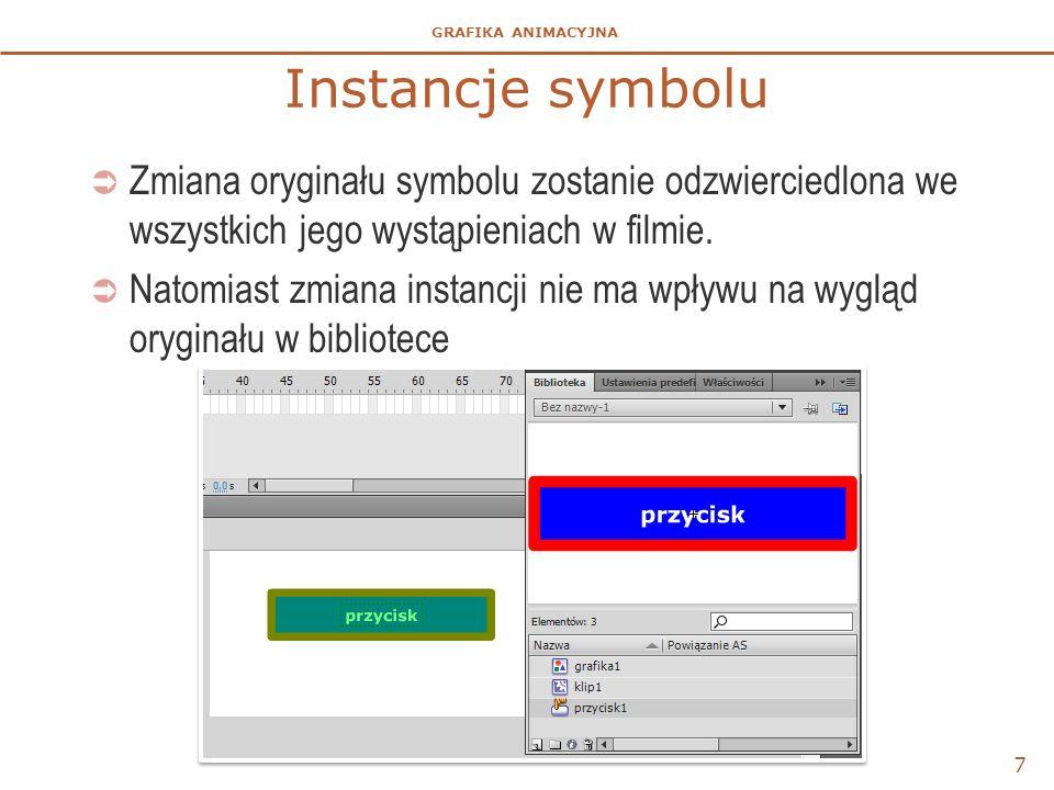 GRAFIKA ANIMACYJNA 8 Zmiany wystąpień symboli  Sposoby dostosowania wyglądu symboli i ich zachowania w filmie bez zmian obiektu źródłowego w bibliotece.