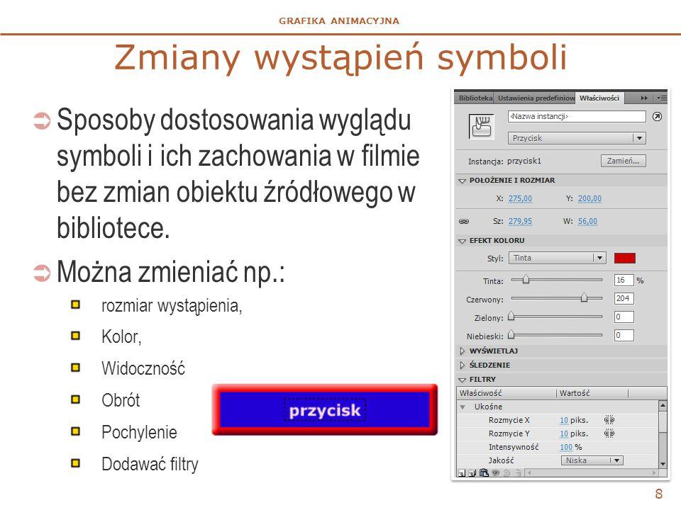 GRAFIKA ANIMACYJNA 8 Zmiany wystąpień symboli  Sposoby dostosowania wyglądu symboli i ich zachowania w filmie bez zmian obiektu źródłowego w bibliote