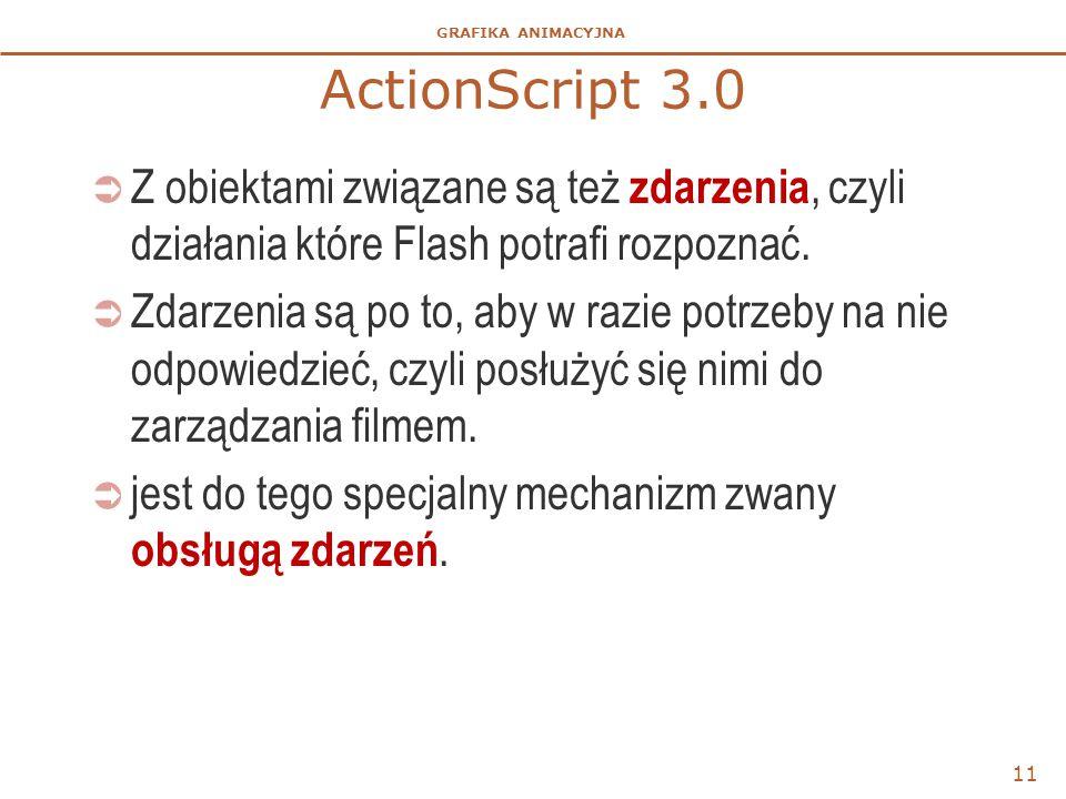 GRAFIKA ANIMACYJNA ActionScript 3.0  Z obiektami związane są też zdarzenia, czyli działania które Flash potrafi rozpoznać.  Zdarzenia są po to, aby