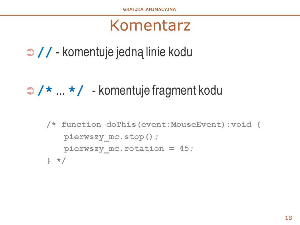 GRAFIKA ANIMACYJNA Komentarz  // - komentuje jedną linie kodu  /*... */ - komentuje fragment kodu /* function doThis(event:MouseEvent):void { pierws