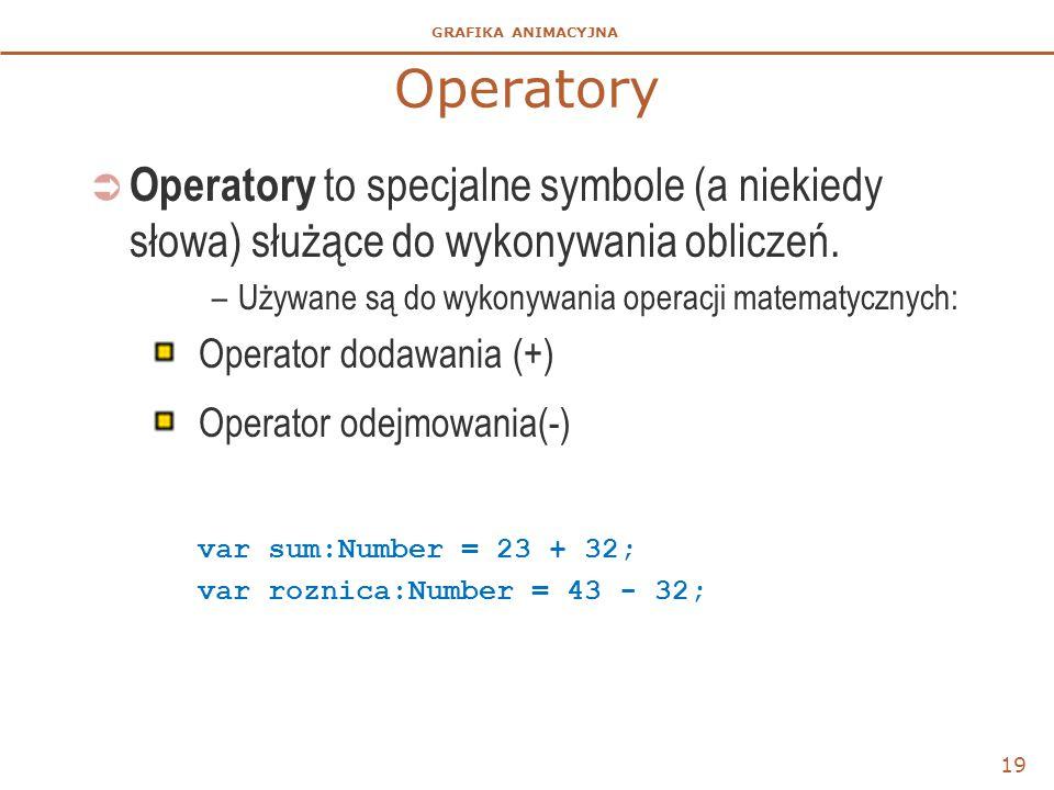 GRAFIKA ANIMACYJNA Operatory  Operatory to specjalne symbole (a niekiedy słowa) służące do wykonywania obliczeń. –Używane są do wykonywania operacji