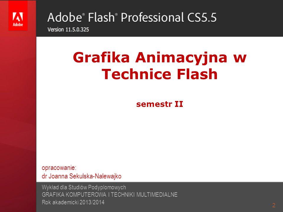 2 Grafika Animacyjna w Technice Flash semestr II Wykład dla Studiów Podyplomowych GRAFIKA KOMPUTEROWA I TECHNIKI MULTIMEDIALNE Rok akademicki 2013/201