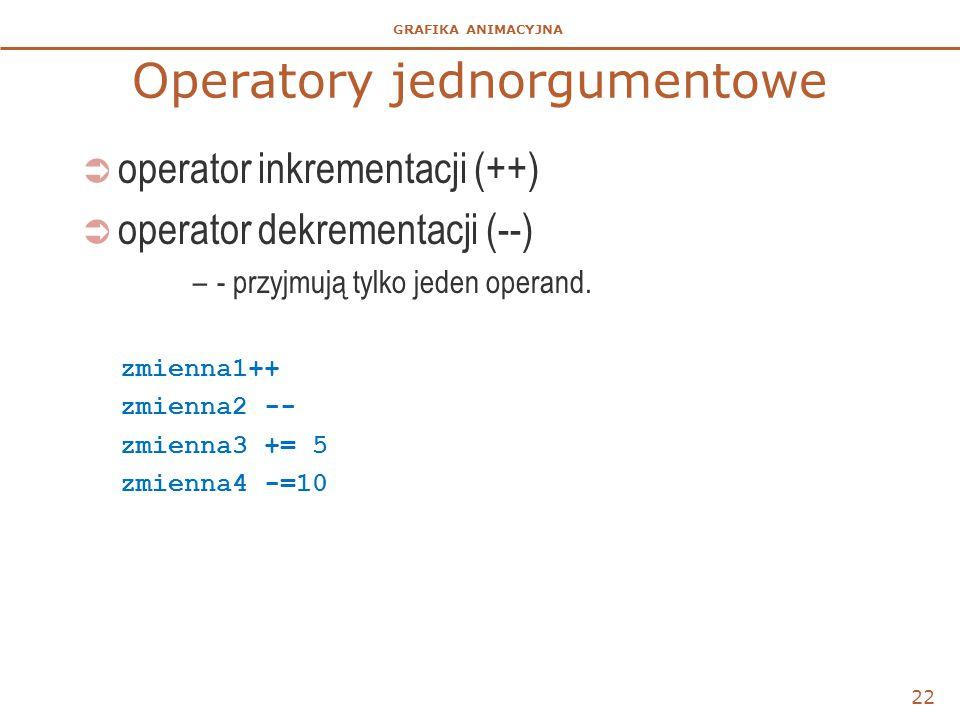 GRAFIKA ANIMACYJNA Operatory jednorgumentowe  operator inkrementacji (++)  operator dekrementacji (--) –- przyjmują tylko jeden operand. zmienna1++